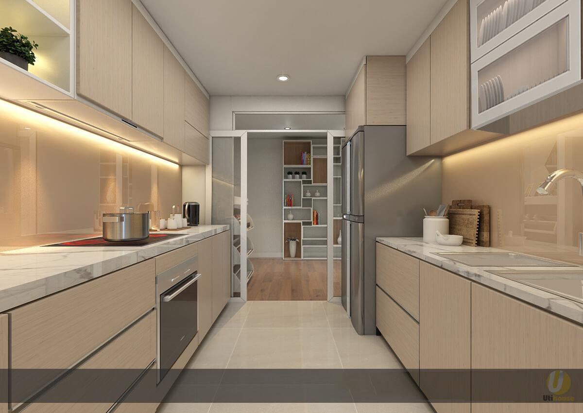 Không gian bếp được bố trí 2 bên thuận tiện cho việc sử dụng