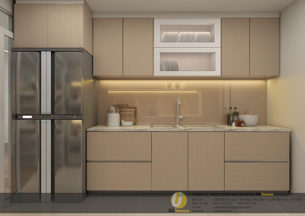 tủ chậu rửa với vật liệu MDF chống ẩm phủ melamine vân gỗ,các chỉ viền được sử dụng laminate