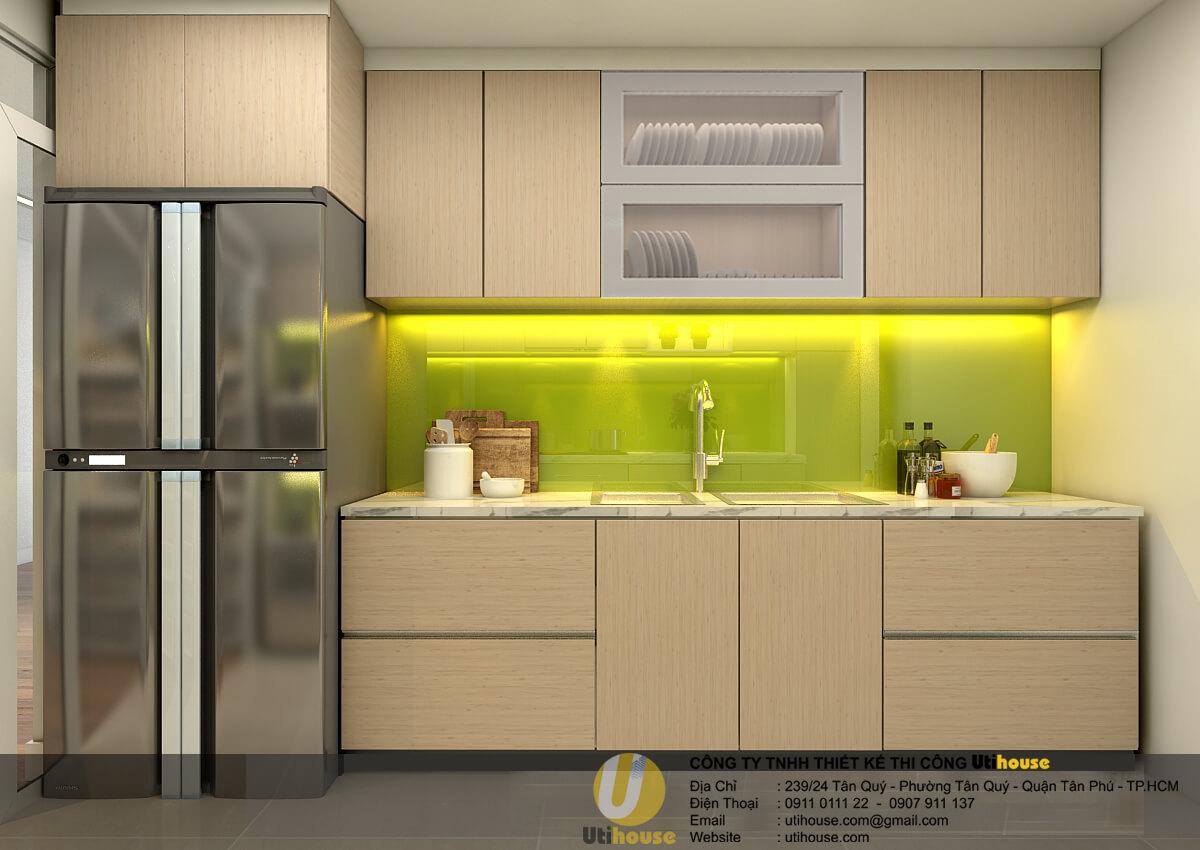 Bếp đẹp với điểm nhấn màu xanh