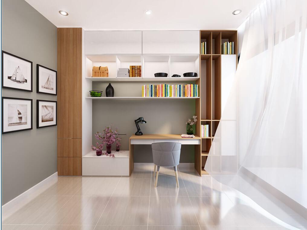 Một khu làm việc và đọc sách được ngăn riêng biệt trong phòng ngủ