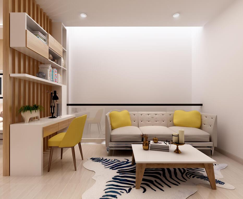 Khu làm việc kết hợp khu thư giản được đặt trong phòng ngủ, và ngăn cách với khu giường ngủ bởi lam gỗ