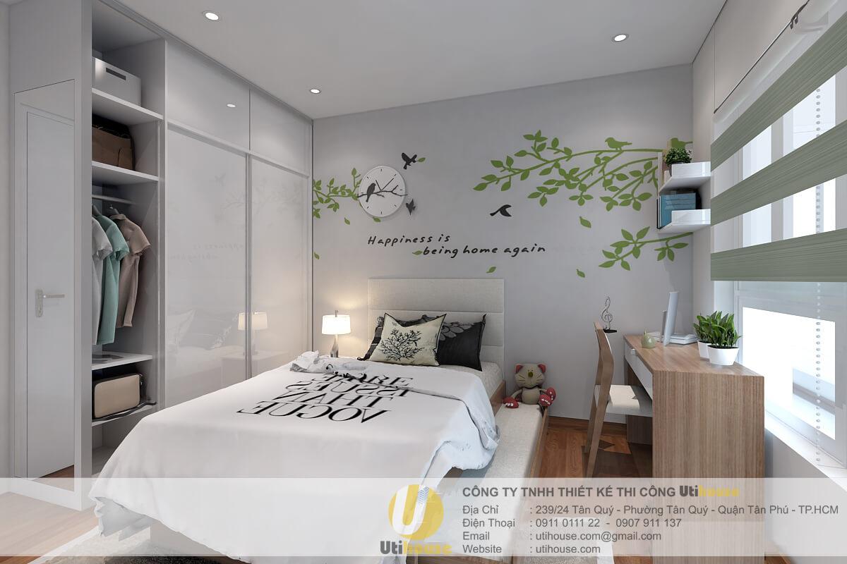 Phòng ngủ với thiết kế đơn giản sự kết hợp giữa tông trắng và vân gỗ