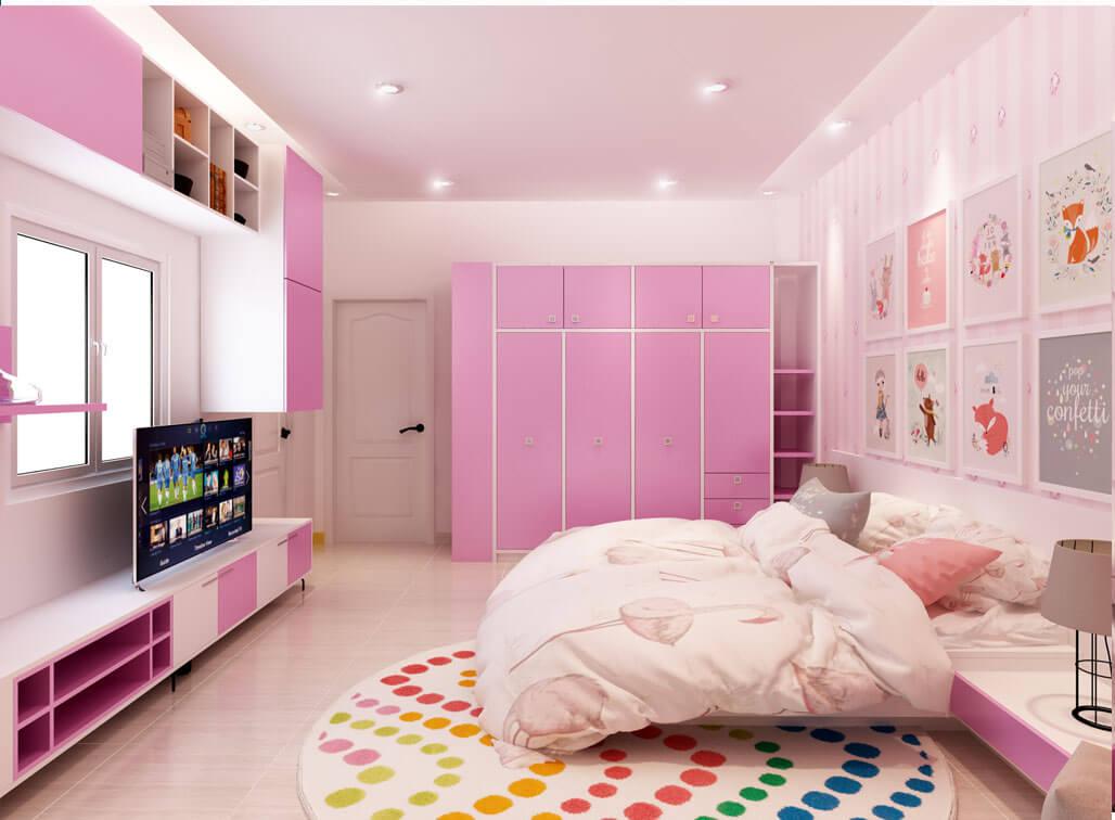 Sự phối hợp màu sắc trắng và hồng trong các vật dụng