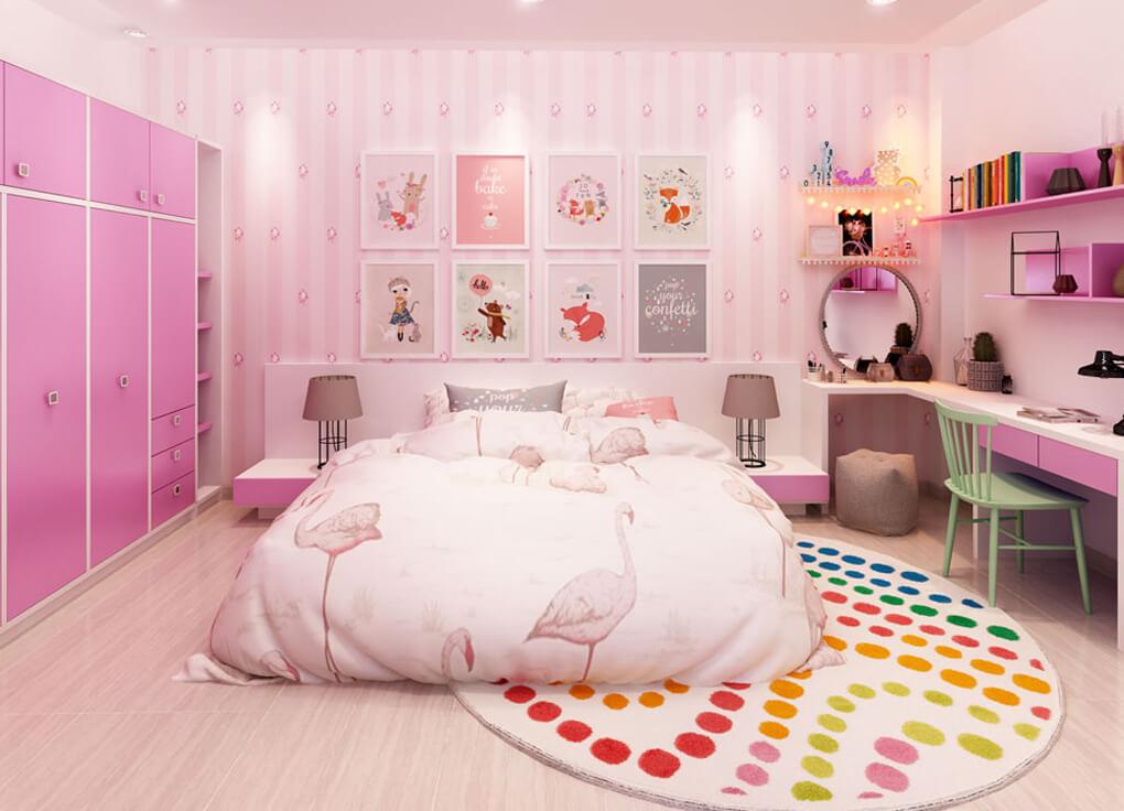 Với cách phối màu ấn tượng, Utihouse tạo ra phòng ngủ dành riêng cho bé gái với tông màu hồng nhẹ nhàng