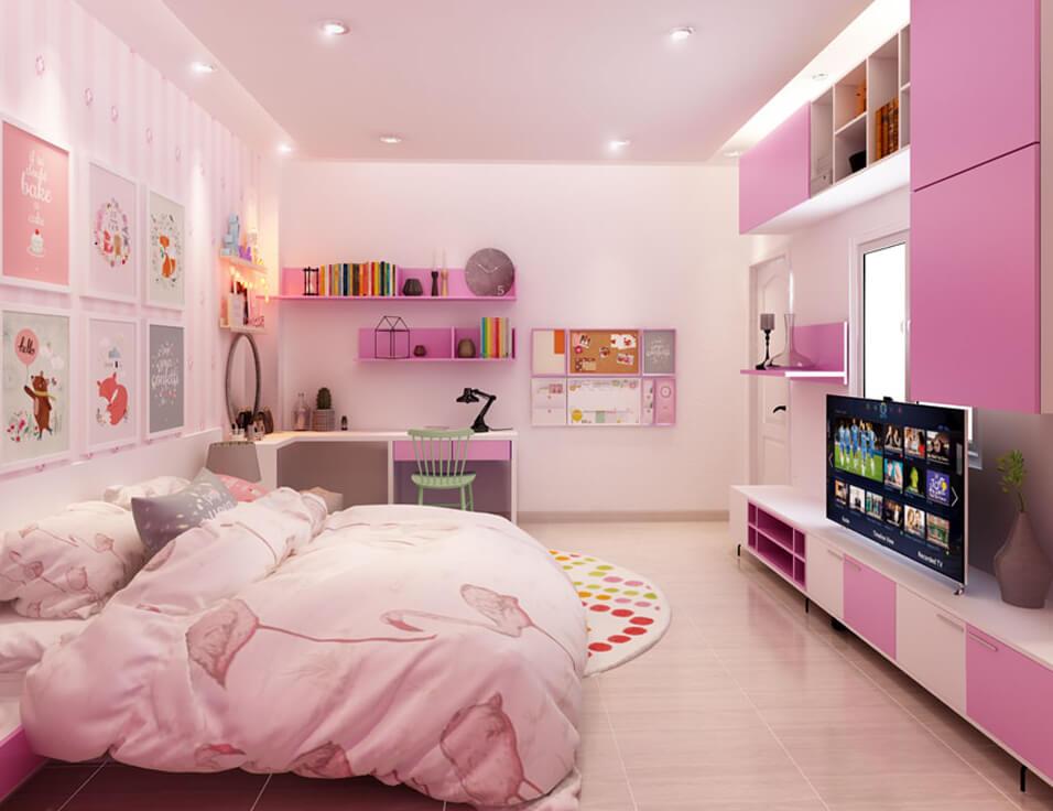Màu hồng xen kẻ trắng,tạo nét dễ thương cho phòng ngủ bé gái