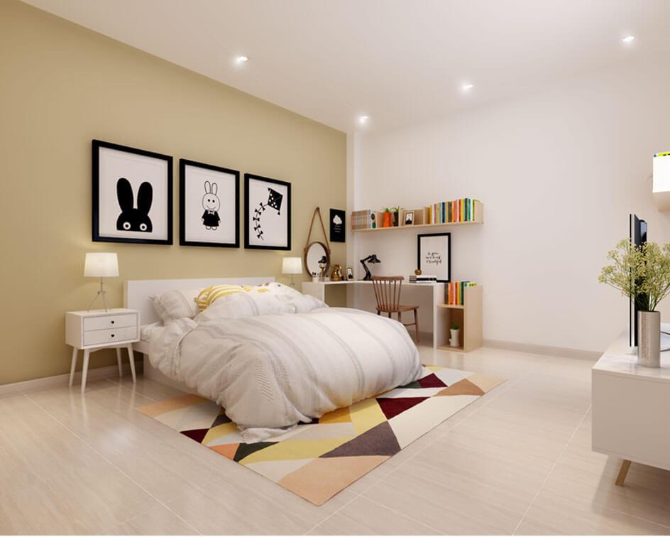 Các vật dụng sử dụng tông màu trắng làm không gian trở nên rộng rãii