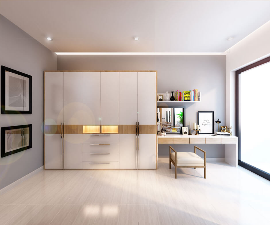 Một khu trang điểm và thay đồ riêng ,với những vật dụng bàn trang điểm và tủ quần áo đơn giản nhưng không kém phần sang trọng