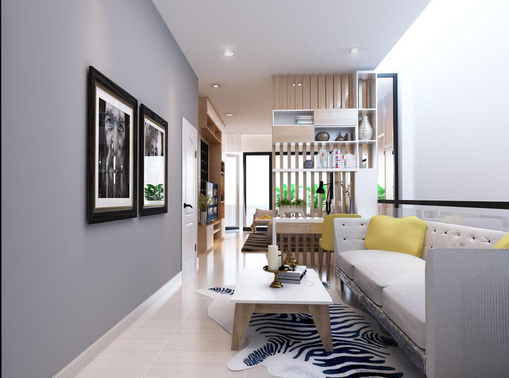 Phòng ngủ master với không gian rộng, được bố trí riêng một khu ngồi thư giản