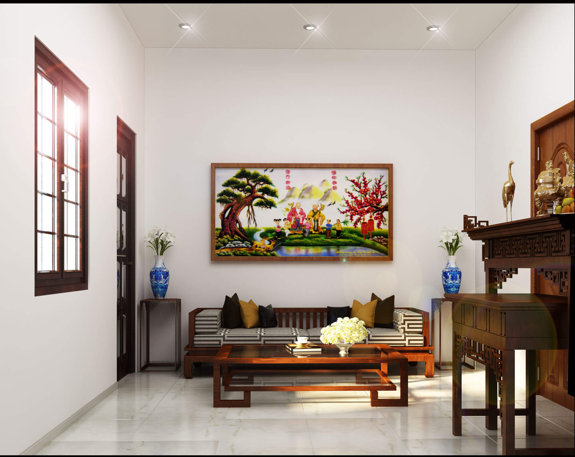 Phòng thờ đơn giản với kệ thờ và một bộ sofa uống trà nằm trên sân thượng