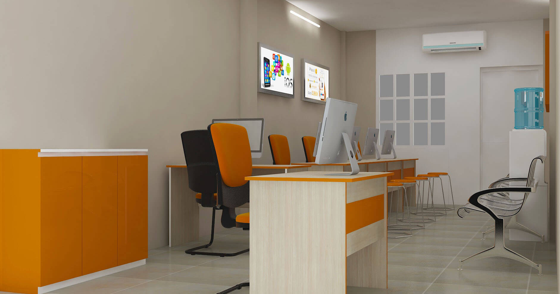 Kết hợp giữa tông gỗ và màu cam truyền thống của công ty