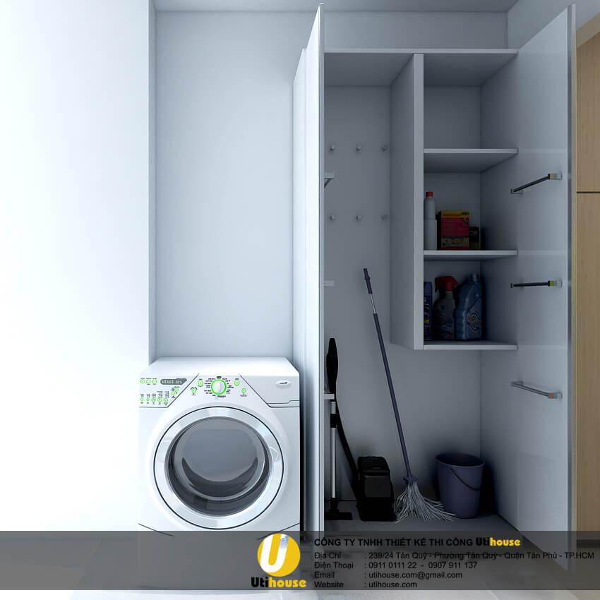 Tận dụng một góc nhỏ ngoài ban công để làm tủ kho và giặt ủi