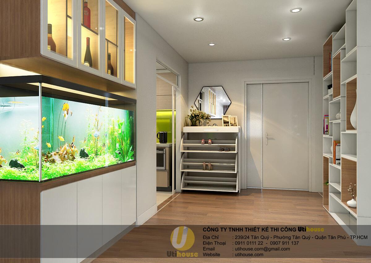 Tủ trang trí với hồ thủy sinh tạo sự sinh động, kết nối không gian giữa sảnh và phòng khách