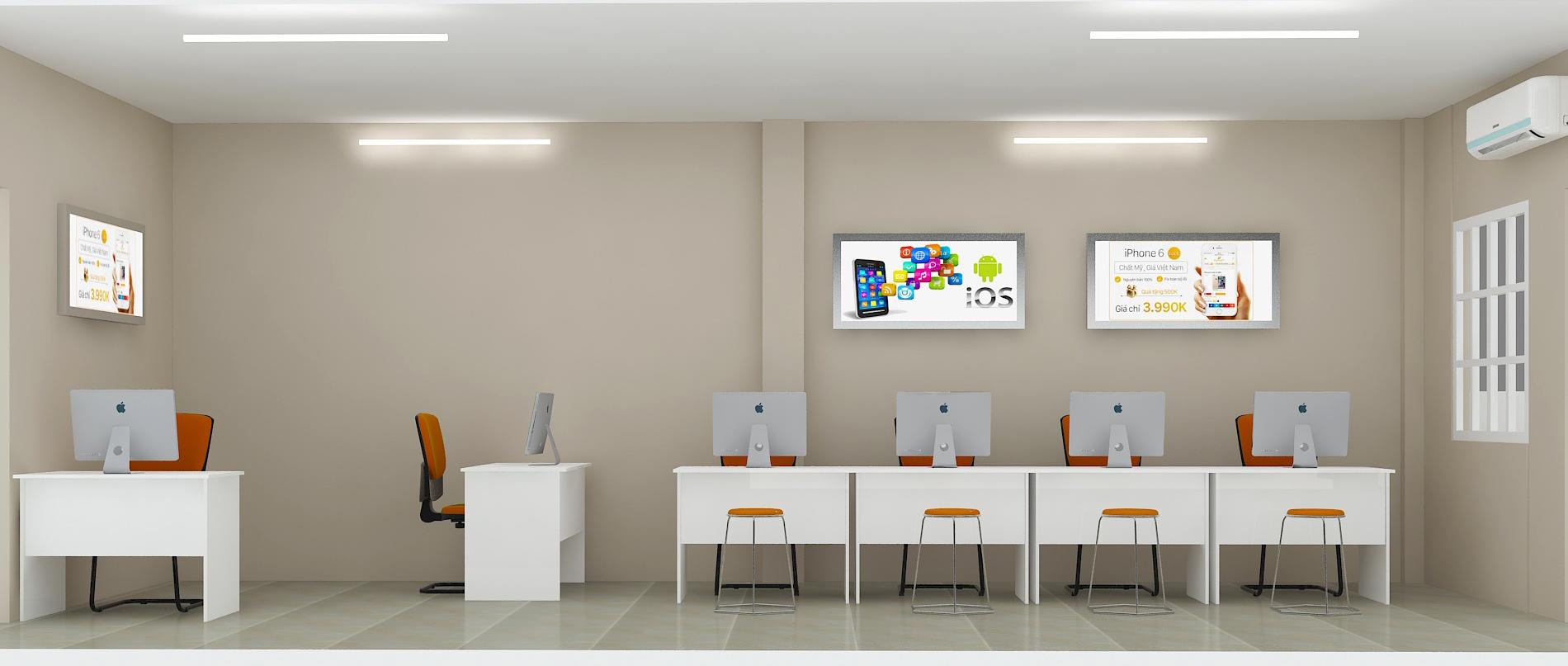 Phòng kỹ thuật với tông trắng chủ đạo kết hợp màu cam của công ty