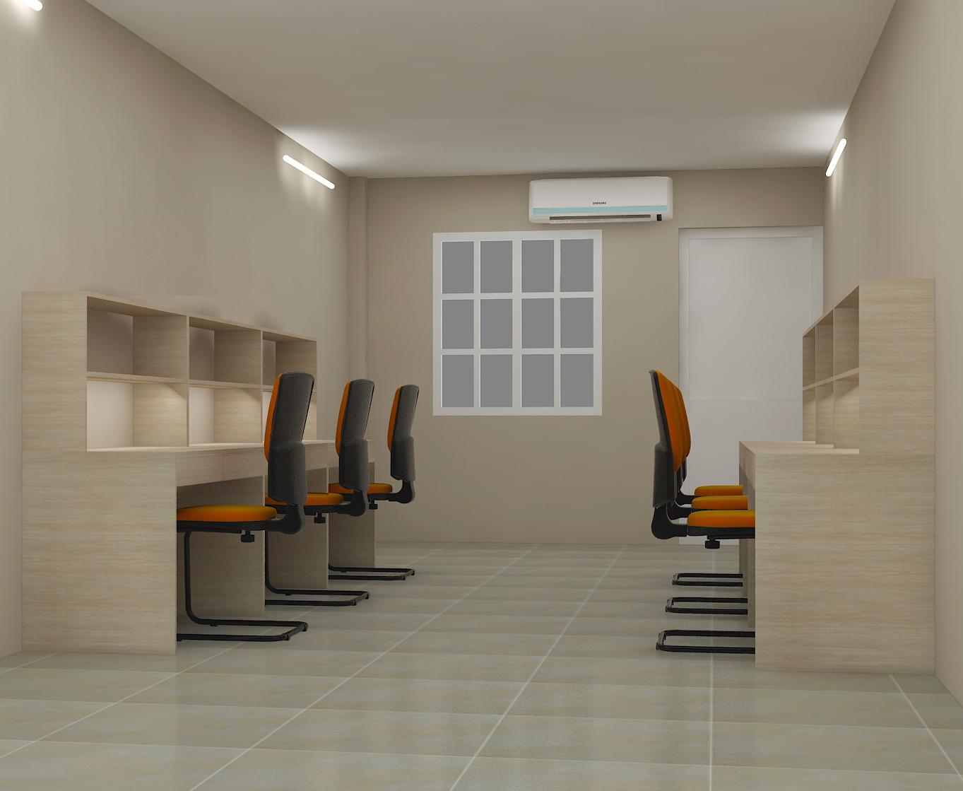 Phòng kỹ thuật với bàn ghế đơn giản