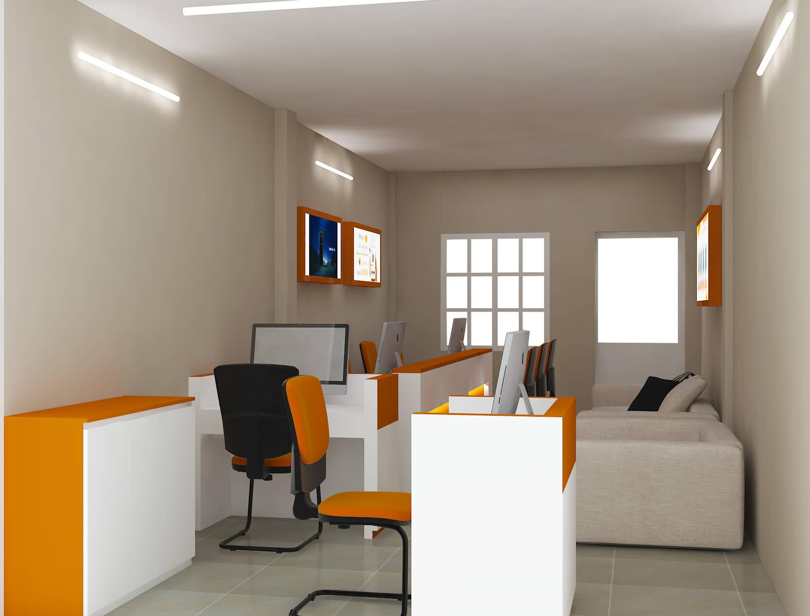 phòng tiếp khách kết hợp khu làm việc