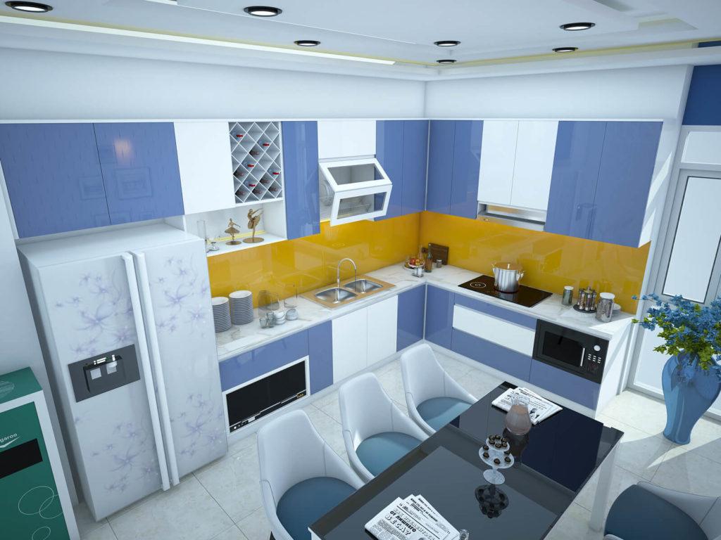 Thiết kế bếp với tông màu xanh