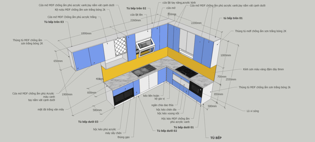Bản vẽ chi tiết bếp Utihouse