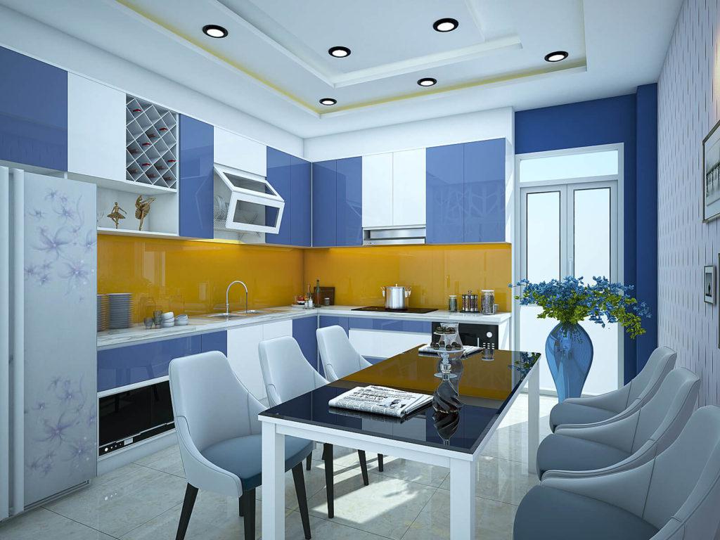 Bếp màu trắng kết hợp xanh