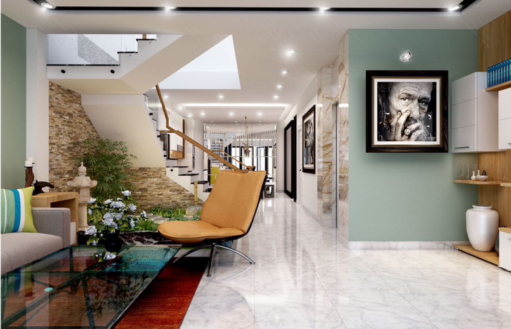 Phòng khách với tông màu xanh tạo cảm giác mát mẽ