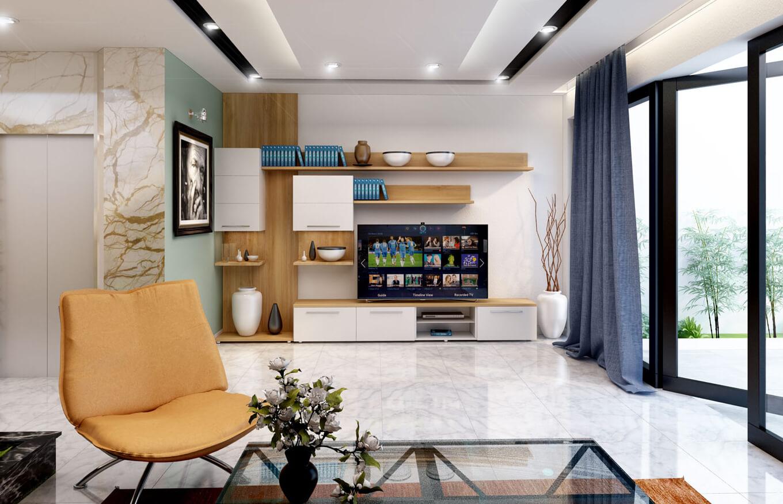 Tủ ti vi được làm từ chất liệu gỗ công nghiệp MDF veneer sồi kết hợp cửa MDF sơn trắng bóng