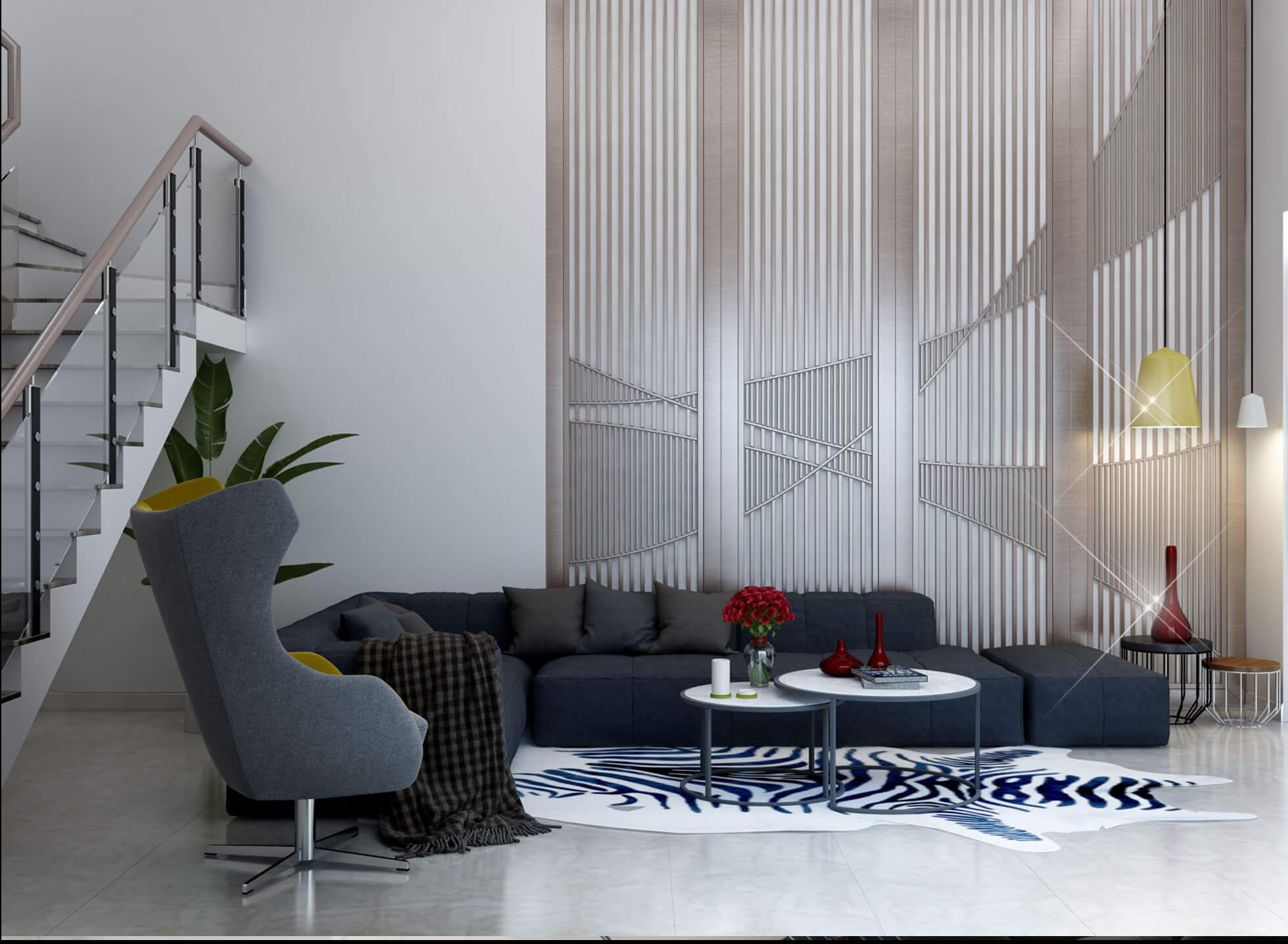 Phòng khách được bố trí đơn giản, với màu sắc tương phản làm nổi bật không gian