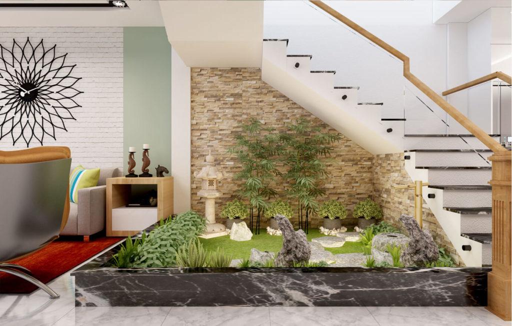 Một tiểu cảnh khô được tận dụng dưới cầu thang, mang thiên nhiên vào ngôi nhà của bạn