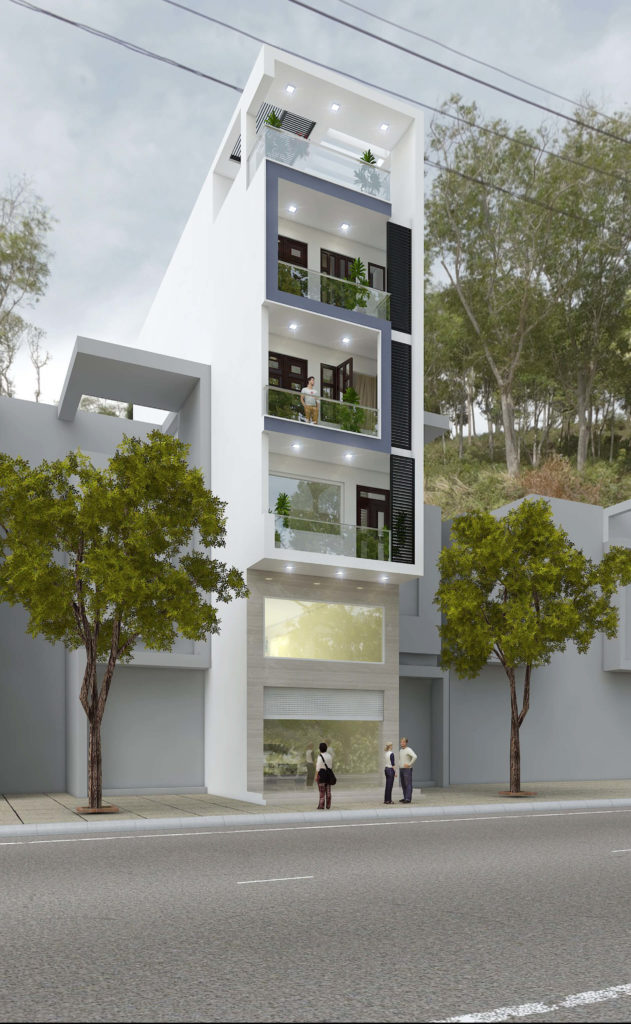 Nhà phố với tông màu xanh kết hợp trắng