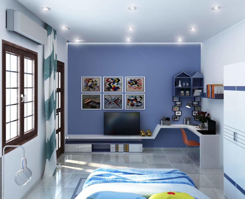 Phòng ngủ con trai với tông màu xanh