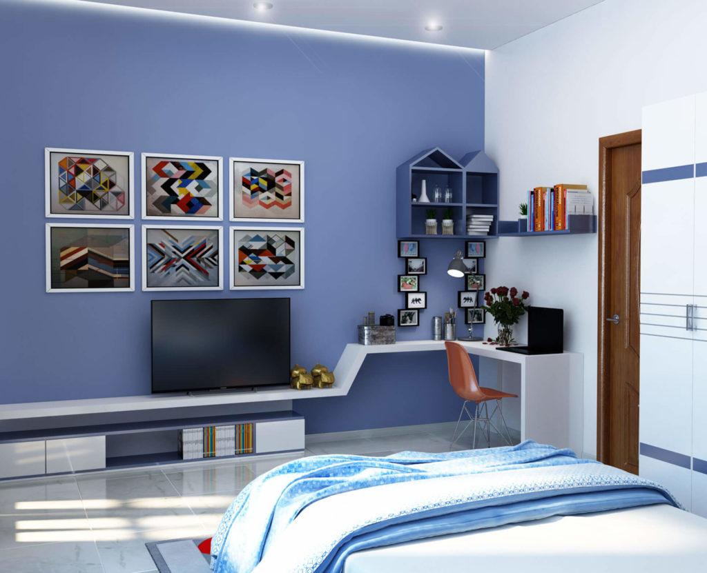 Phòng ngủ màu xanh đẹp