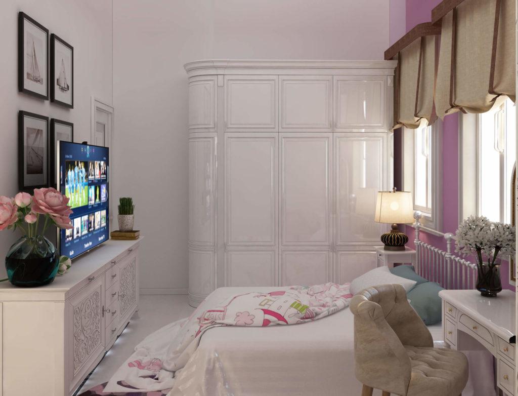 Phòng ngủ bán cổ điển màu hồng