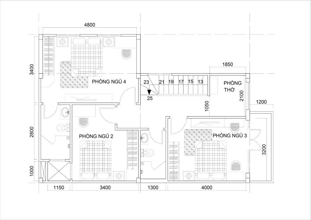 Mặt bằng lầu 1 với 3 phòng ngủ và 1 khu thờ nhỏ