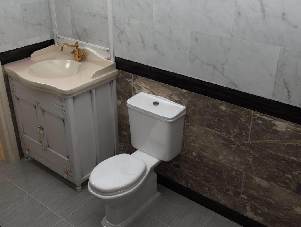 Phòng vệ sinh bán cổ điển