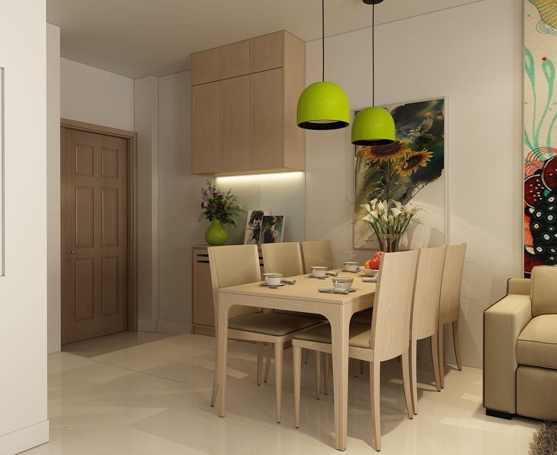 Bàn ăn sử dụng chất liệu gỗ sồi tự nhiên,ghế bọc simili màu nâu.