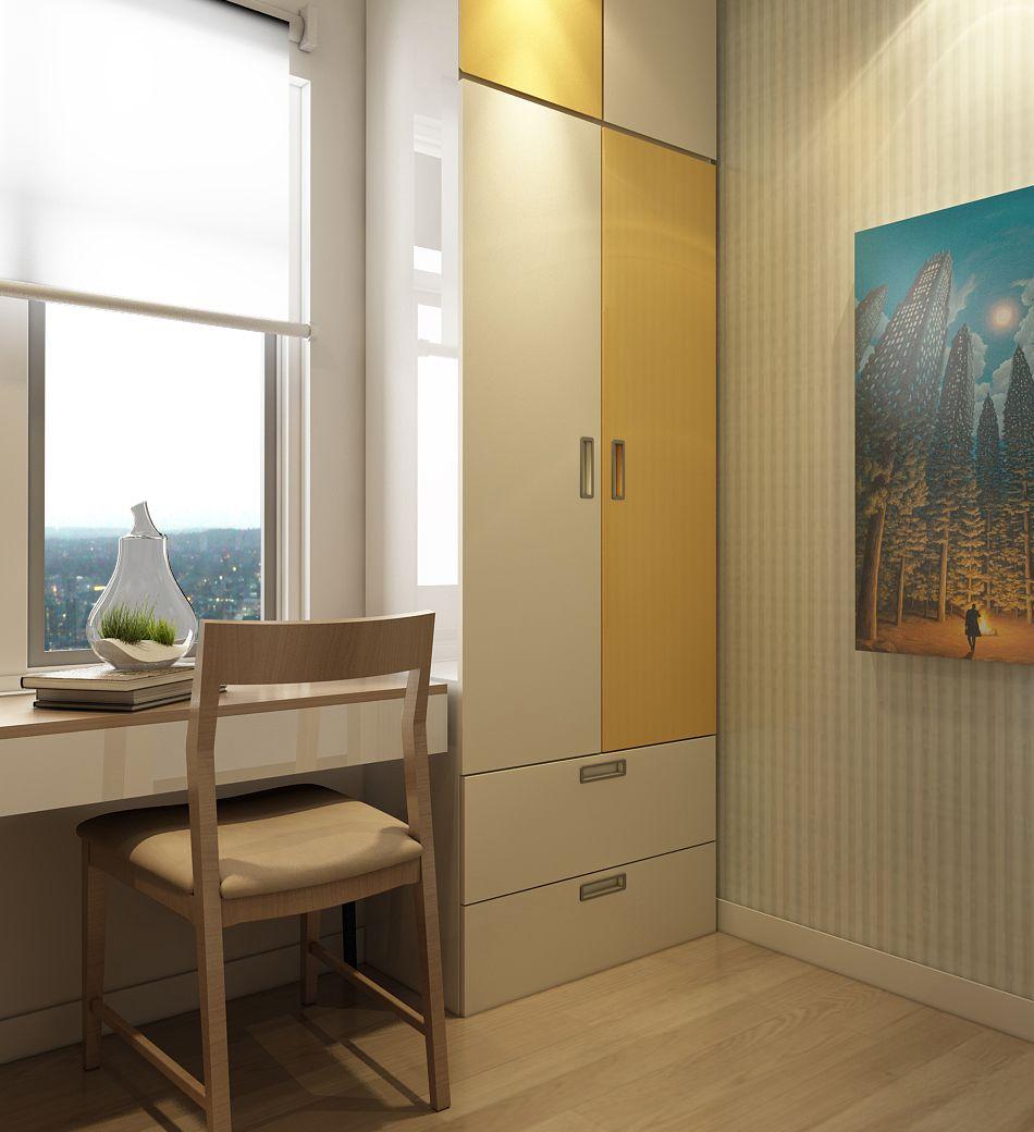 Một chiếc tủ quần áo nhỏ nhắn, tận dụng tối đa góc tường, mang lại nhiều tiện ích.