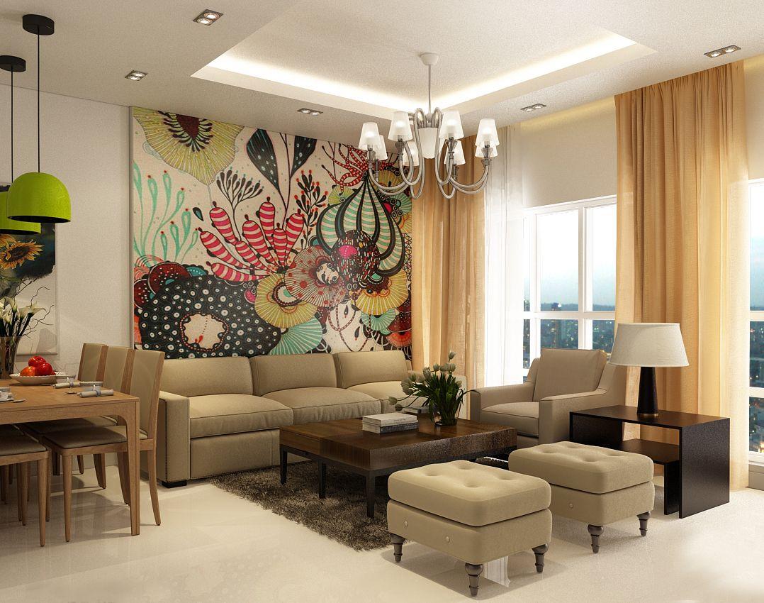 Một phòng khách với không gian rộng lớn và view nhìn đẹp, mang lại cảm giác thư giản.