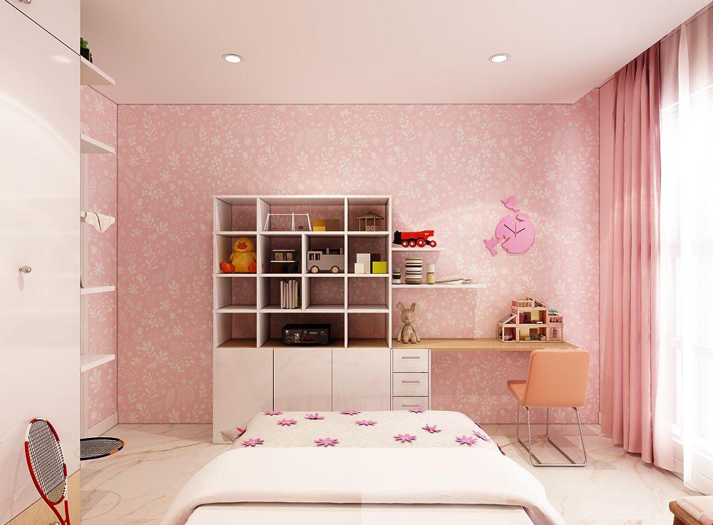 Các phòng ngủ màu hồng luôn là lựa chọn ưa thích của các bé gái.