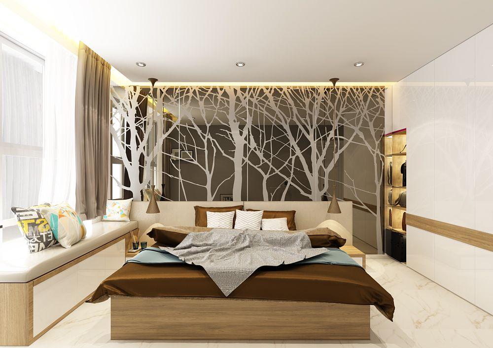 Vách trang trí đầu giường là sự kêt hợp tinh tế giữa MDF chống ẩm phủ acrylic và decal