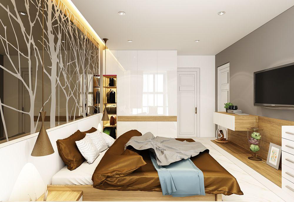 Phòng ngủ master sử dụng tông màu nâu của gỗ kết hợp màu trắng bóng làm căn phòng trở nên rộng rãi và sang trọng