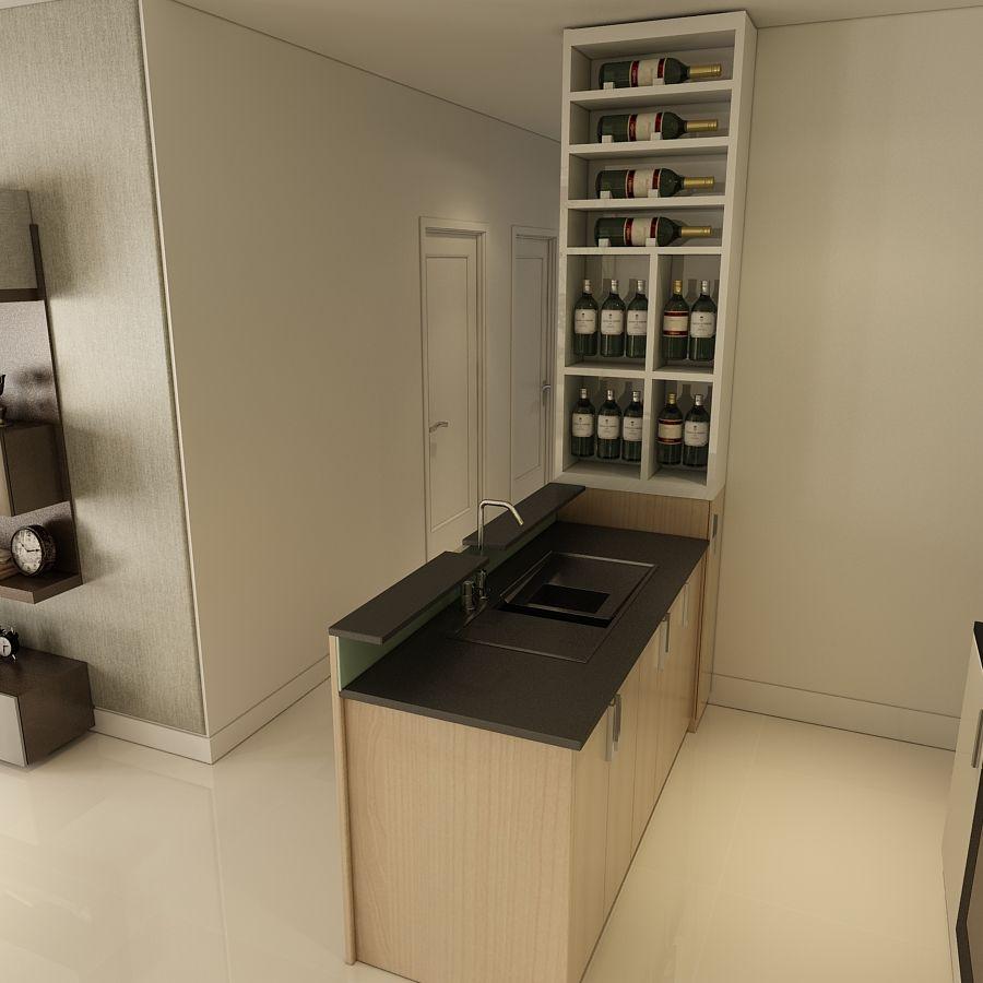 Đảo bếp làm nơi rữa kết hợp quày bar.Với vật liệu MDF chống ẩm phủ melamine vân gỗ