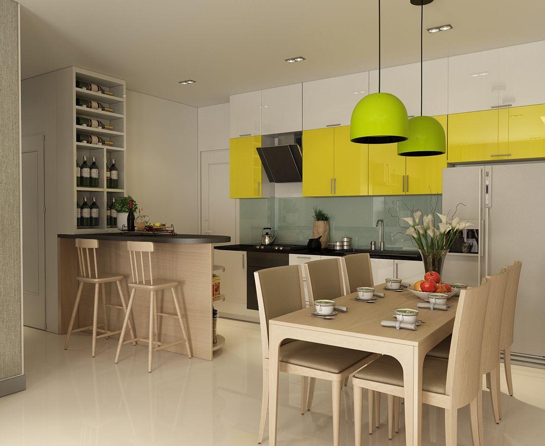 Căn bếp là một không gian mở , liên thông từ phòng khách,tạo sự thông thoáng.