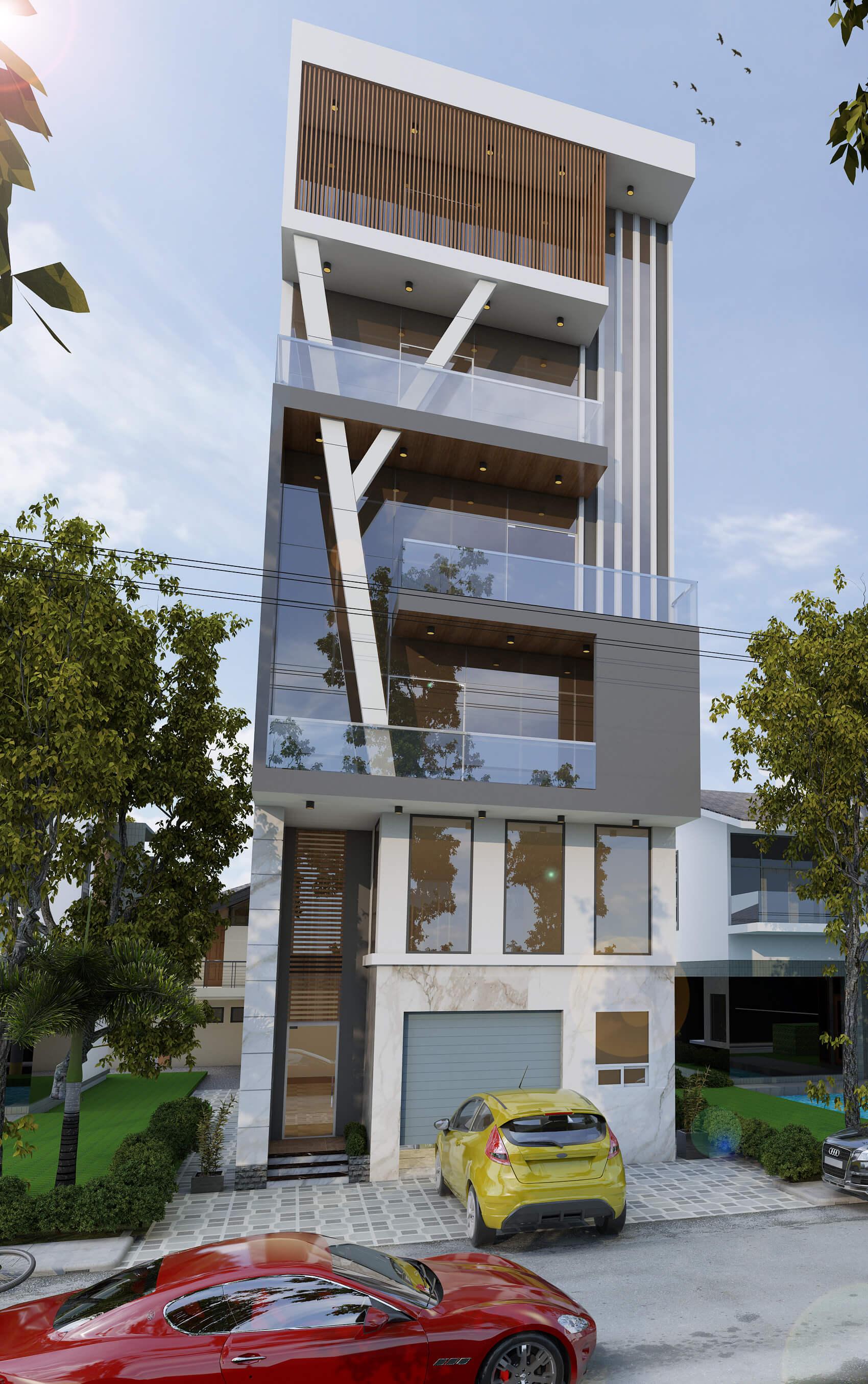 Mẫu thiết kế tòa nhà ngang 8m