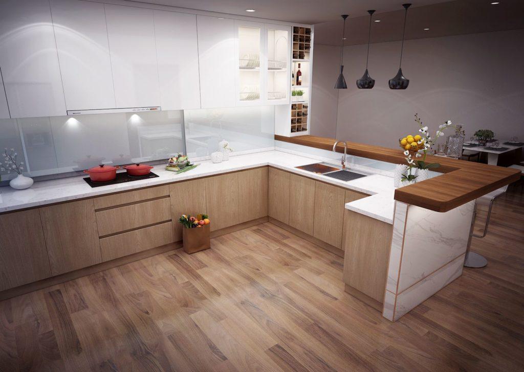 Mẫu tủ bếp vân gỗ