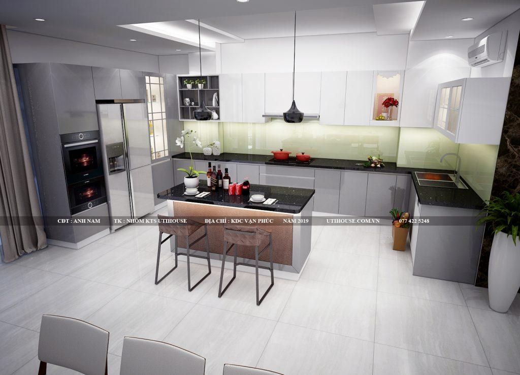 thiết kế nội thất tủ bếp biệt thự khu dân cư vạn phúc