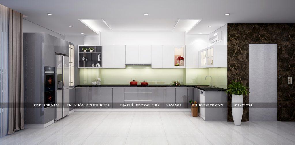 thiết kế nội thất tủ bếp biệt thự khu đô thị vạn phúc
