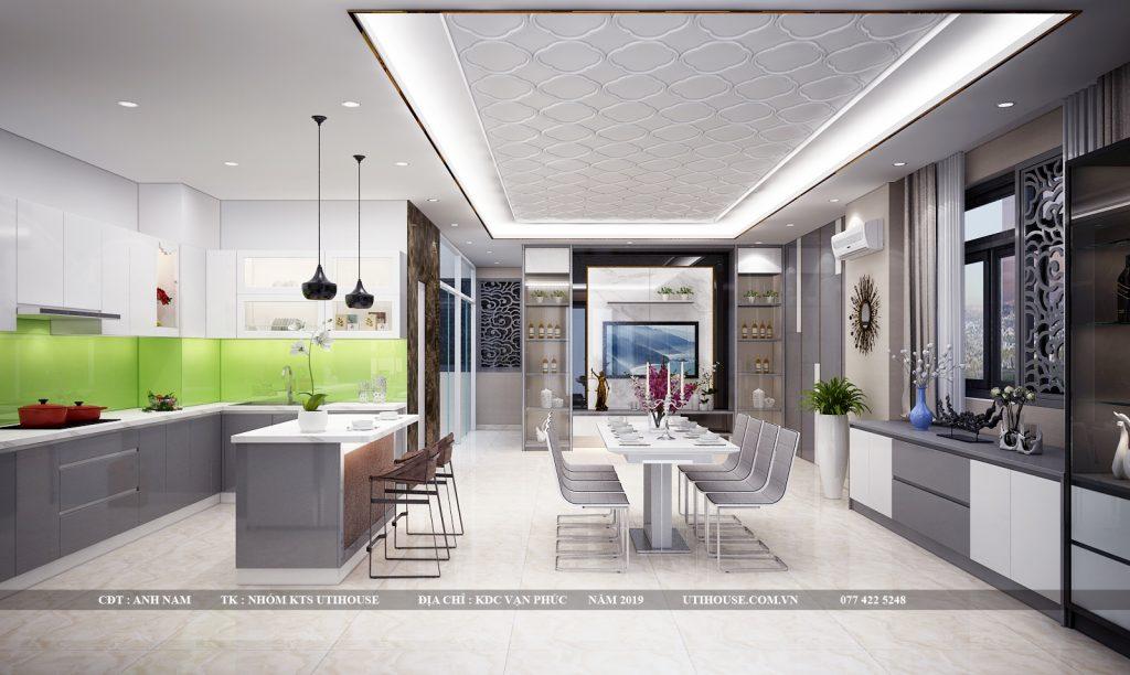 thiết kế nội thất tủ bếp biệt thự khu vạn phúc city