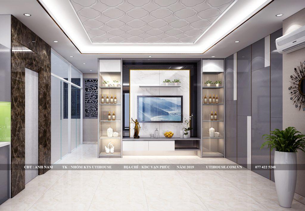 thiết kế nội thất tủ bếp nhà liền kề khu dân cư vạn phúc