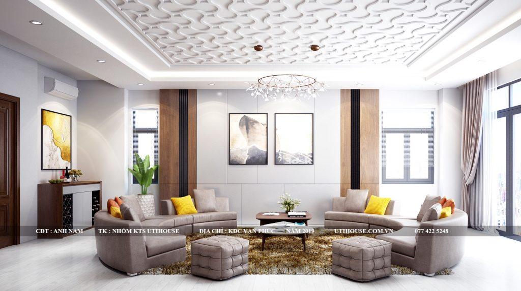thiết kế nội thất phòng khách KDC vạn phúc
