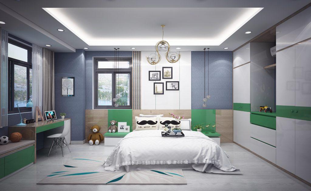 thiết kế phòng ngủ con trai khu dân cư vạn phúc