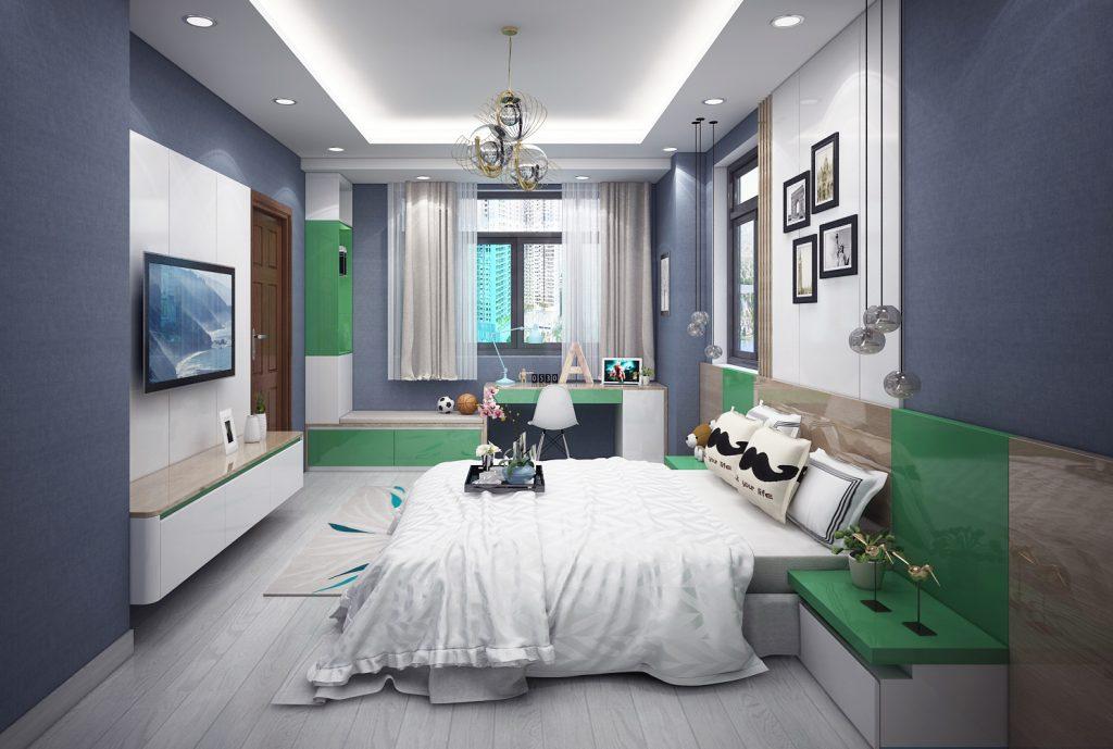 thiết kế phòng ngủ con gái khu dân cư vạn phúc