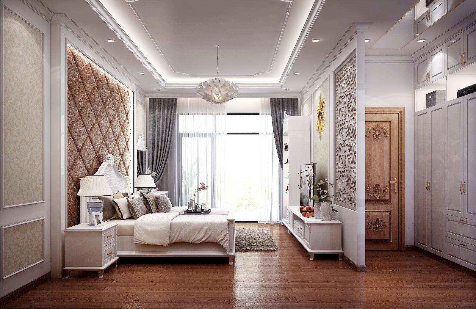 Mẫu thiết kế phòng ngủ chung cư 65m2 đẹp